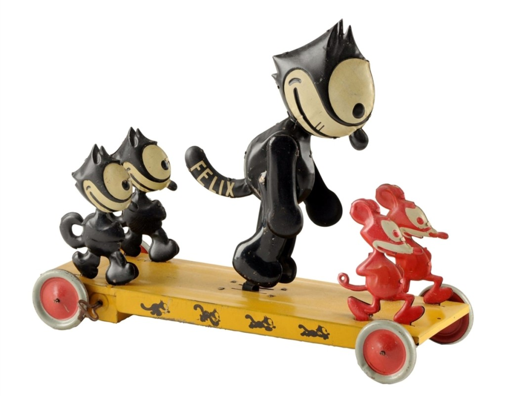 "The top lot was a large Felix the Cat, Felix Frolic Platform toy, measuring 13¼ by 10¾ by 14 inches, in lithographed tin. The central Felix is 9 inches tall, the two small Felix figures are 5 inches tall, and the red mice are 4 inches tall. Windup works and Felix moves his legs when the toy operates. Copyrighted by Pat Sullivan, Nifty trademark and made in the United States by J. Chein. This toy is one of only four known examples, and this ultimate Felix toy ""should be considered one of the top ten comic character tin toys of all time."" The provenance lists Gary Selmonsky Collection, excellent condition and it sold over the $40,000 high estimate for $44,500."