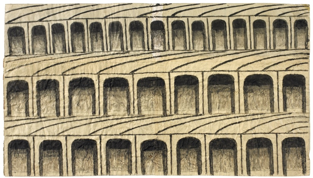 Untitled (Arches), circa 1960–63, gouache and graphite on pieced paper, 11½ by 20½ inches.