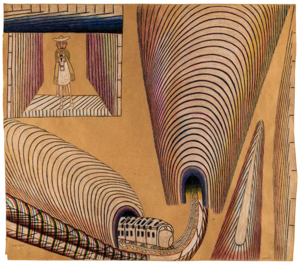 Untitled (Train and Tunnels), 1954, pencil, colored pencil, crayon and watercolor on paper, 36 by 41¼ inches.