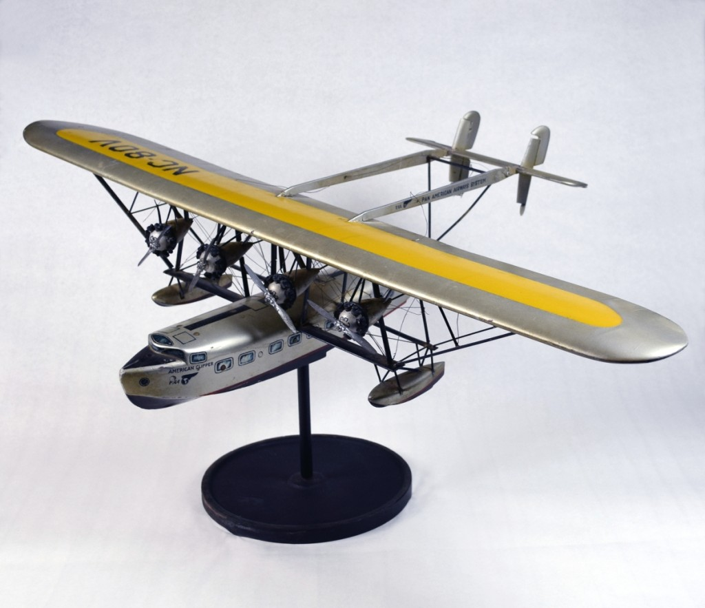 World War I pilot veterans utilized their aviation experience in new ways, including creating a commercial airline industry at home. Between 1931 and 1946, Pan Am operated Clipper services to South and Central America from its International Pan American Airport at Dinner Key in Miami, Fla. This model depicts the American Clipper, the flagship of the international fleet. Collection of Jean S. and Frederic A. Sharf.