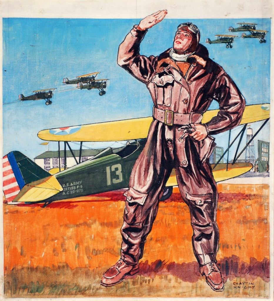 This painting of an American pilot with the US Army's 94th Aero Squadron, by aviation artist Clayton Knight, was used on the April 1931 cover of American Boy. Knight, a former World War I pilot with the US Army Signal Corps, created a large portfolio of aviation scenes both during and after the War, providing a glimpse into the daily lives of pilots. Courtesy Museum of Illustration at the Society of Illustrator.