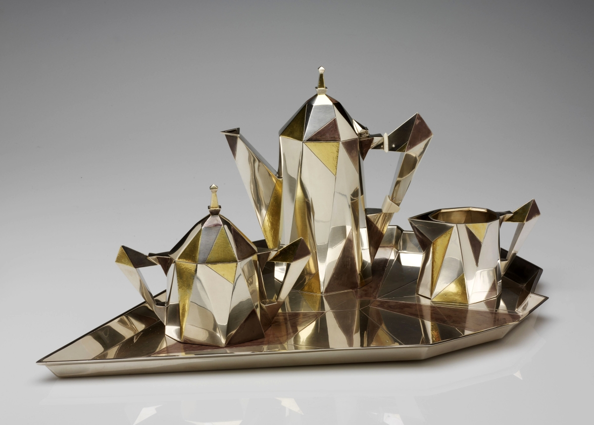Cubic coffee service by Erik Magnussen (1884–1961), designer; Gorham Manufacturing Company, maker, 1927. Silver with gilding, ivory. Museum of Art, Rhode Island School of Design. —Erik Gould photo