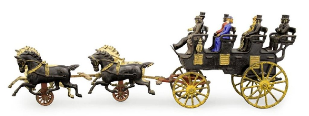 Among the horse-drawn toys was this Four Seat Brake by Hubley Mfg, Lancaster, Penn., circa 1906 and measuring 29½ inches long. It is in excellent to pristine condition, retains all of the eight original figures, cast iron and brass, and sold just under the $15,000 high estimate for $13,200.