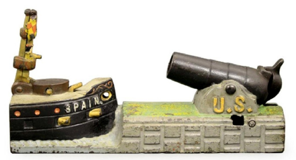 J&E Stevens of Cromwell, Conn., made this US and Spain mechanical bank, cast iron, pristine, that sold for $12,000, over the $10,000 high estimate. When the war broke out in the spring of 1898, Stevens raced to market with this clever image of the conflict.