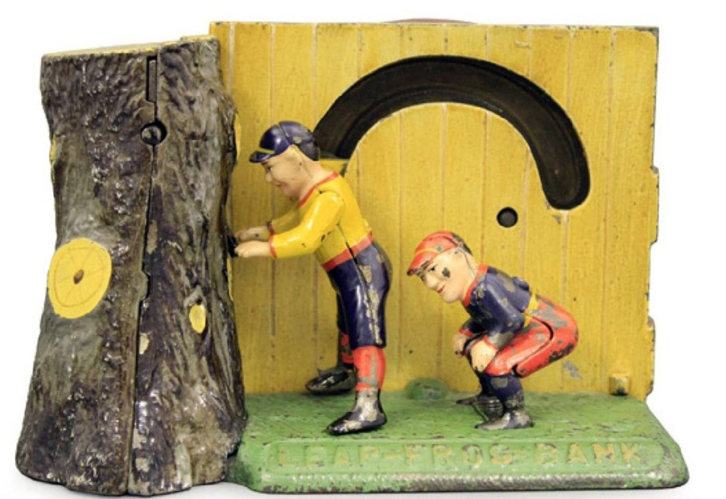 "With a high estimate of $7,500, this Leap Frog mechanical bank sold for $12,000. It was made by Shepard Hardware Company, Buffalo, N.Y., cast iron in pristine plus condition, circa 1890, and ""the condition of the two boys is among the best we have seen."""