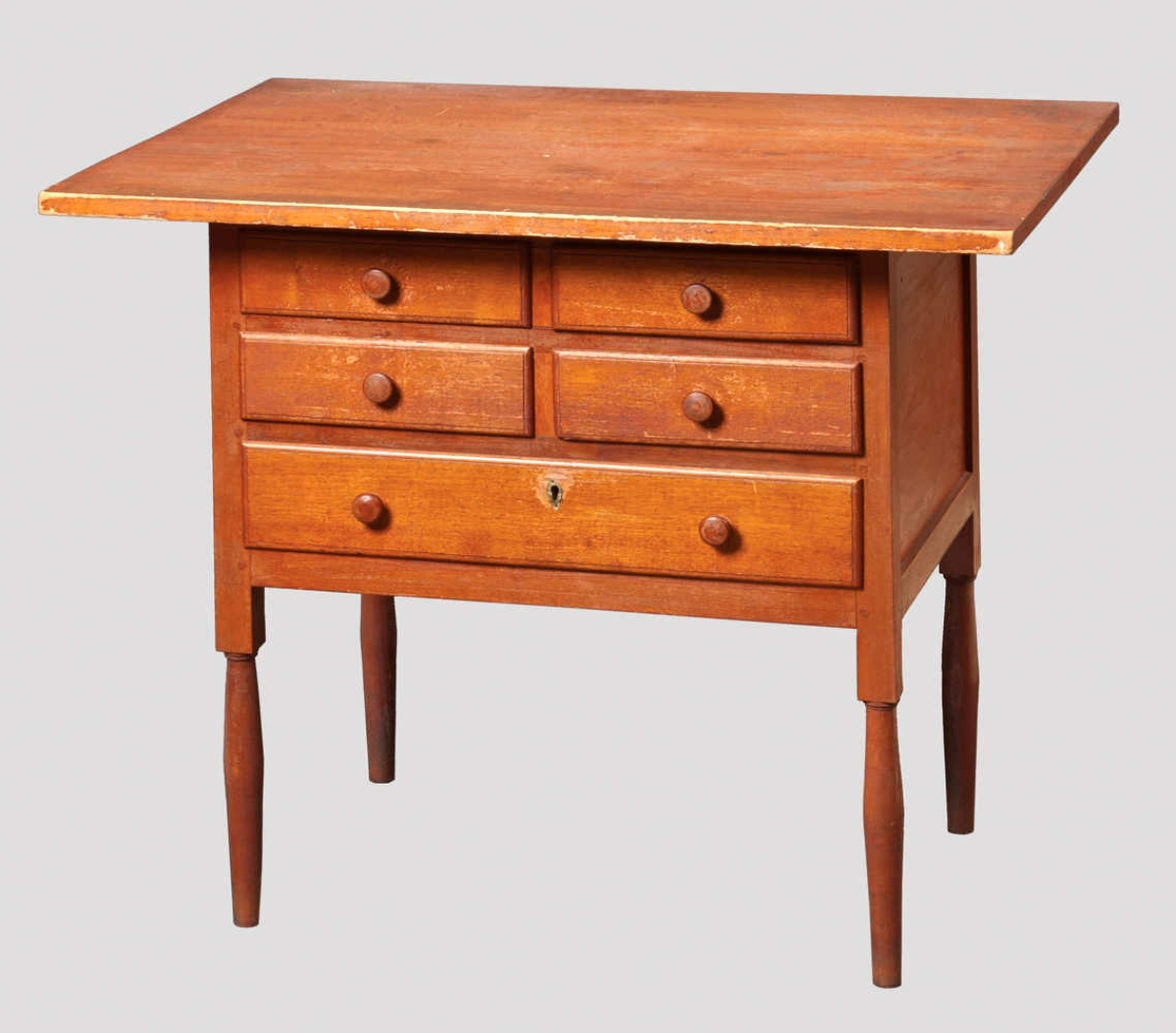 The top lot of the auction and a highlight of the McCue collection was this sewing table with five drawers that sold to longtime collectors, the Murrays of Michigan, for $234,000. The piece has a unique locking device allowing one to lock all the drawers at once with a single key. The Hancock, Mass., piece was made circa 1840.