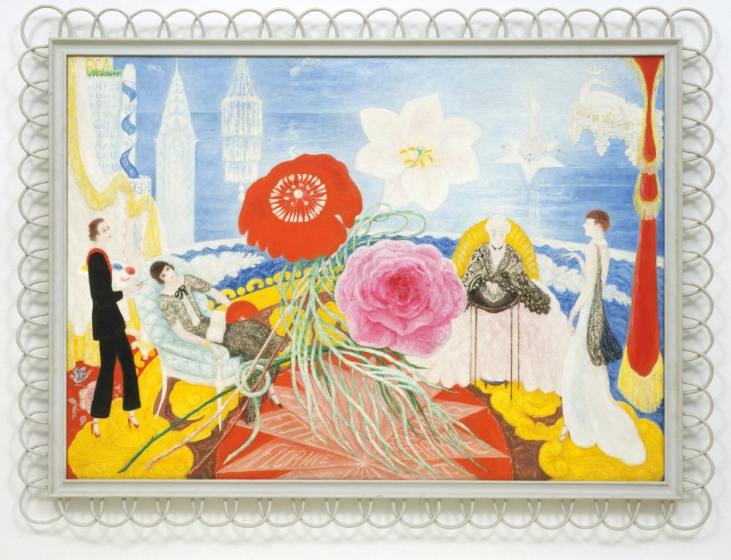 """Family Portrait II,"" 1933. Oil on canvas. Museum of Modern Art, New York. Stettheimer regarded this work as her masterpiece. It is the subject of the essay Georgiana Uhlyarik contributed to the exhibition catalog. The inscription seen at the upper left — ""4 St.s seen by Florine"" — is a play on the family surname as well as a reference to her participation in the opera ""Four Saints in Three Acts,"" which she was working on at the time."