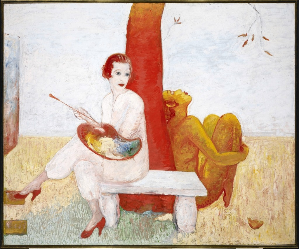 """Self-Portrait with Palette (Painter and Faun),"" undated. Avery Architectural and Fine Arts Library, Columbia University. While living in Paris, Stettheimer saw Vaslav Nijinsky dance the title role in Claude Debussy's Afternoon of a Faun, produced by the Ballets Russes. The experience sparked an interest in ballet, theater and mythology that extended through her career."