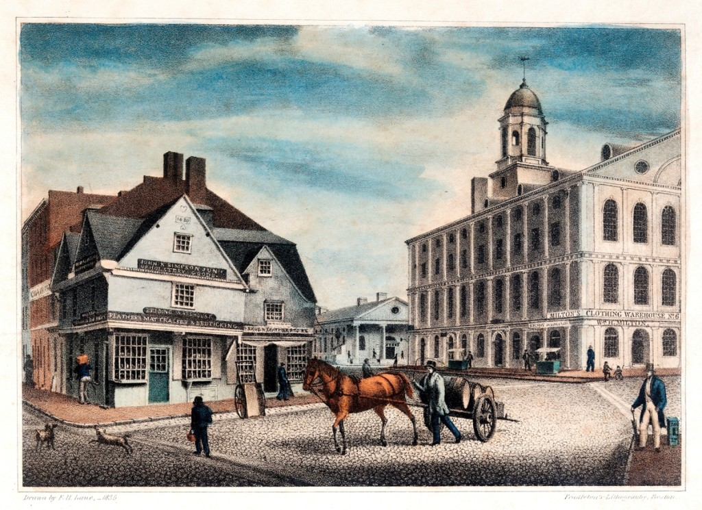 """View of the Old Building at the Corner of Ann St., Boston, Mass.,"" drawn by F.H. Lane, lithograph by Pendleton's Lithography, Boston, 1835. Boston Athenaeum"
