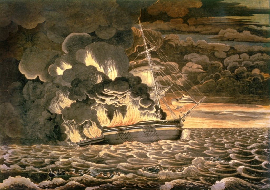 """Burning of the Packet Ship Boston"" by Fitz Henry Lane, 1830. Watercolor on paper. Cape Ann Museum"