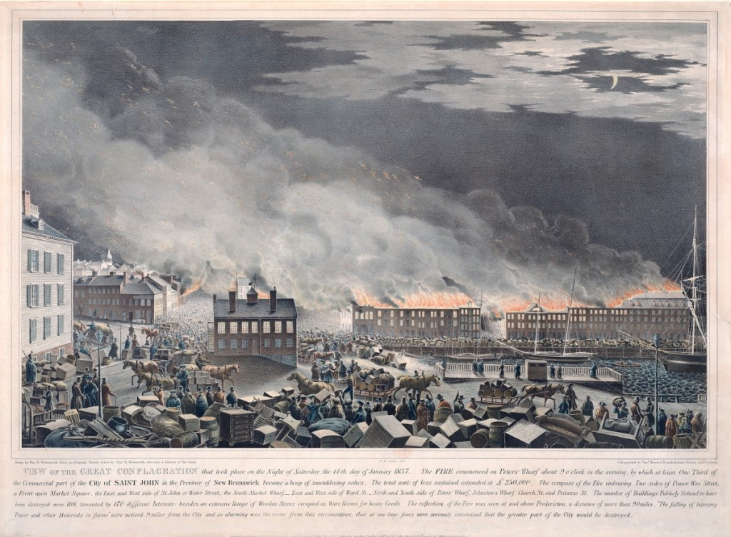 """View of the Great Conflagration that took Place on the Night of Saturday, 14th January 1837,"" drawn by William H. Wentworth from an original sketch by Thomas H. Wentworth; redrawn by F.H. Lane; lithograph by Thomas Moore's Lithography, Boston, 1837. Boston Athenaeum"