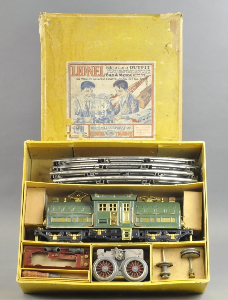 Selling for $27,000, $1,000 over the high estimate, was this Lionel 381U kit, excellent condition, with the loco measuring 17 inches long. There was some wear to the box top.