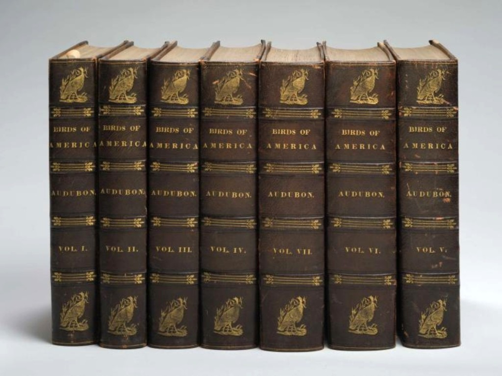 The first octavo edition of Audubon's The Birds of America in seven leather-bound volumes, containing 500 hand colored lithographic plates, published between 1840 and 1844, realized $33,600.