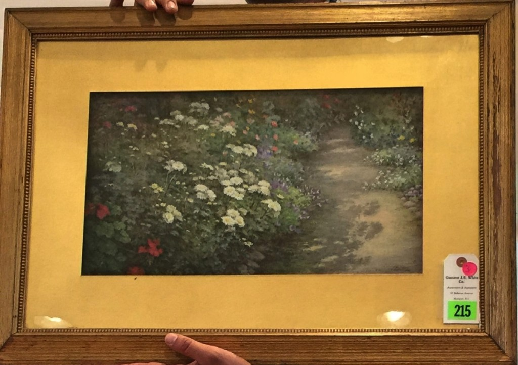 "Fidelia Bridges (1834–1923), who was a friend of Richards, painted this watercolor, which measured 10½ by 18½ inches. It was signed ""F. Bridges, 1902."" Bidding opened at a strong $5,000, with four bidders competing, and quickly escalated to the selling price of $24,000, to a buyer on the phone."