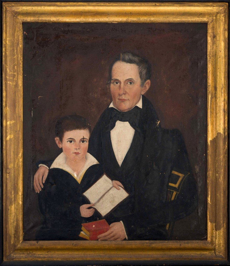 """This image shows """"Captain Thomas Trent Jr and his son William Henry Trent"""" before conservation. Painting by Samuel T. Taylor (circa 1800–46), Appomattox County, Va., 1837. Oil on canvas. Gift of Thomas R. Terry in memory of Joseph B. and Mary Featherston Terry, 2002."""