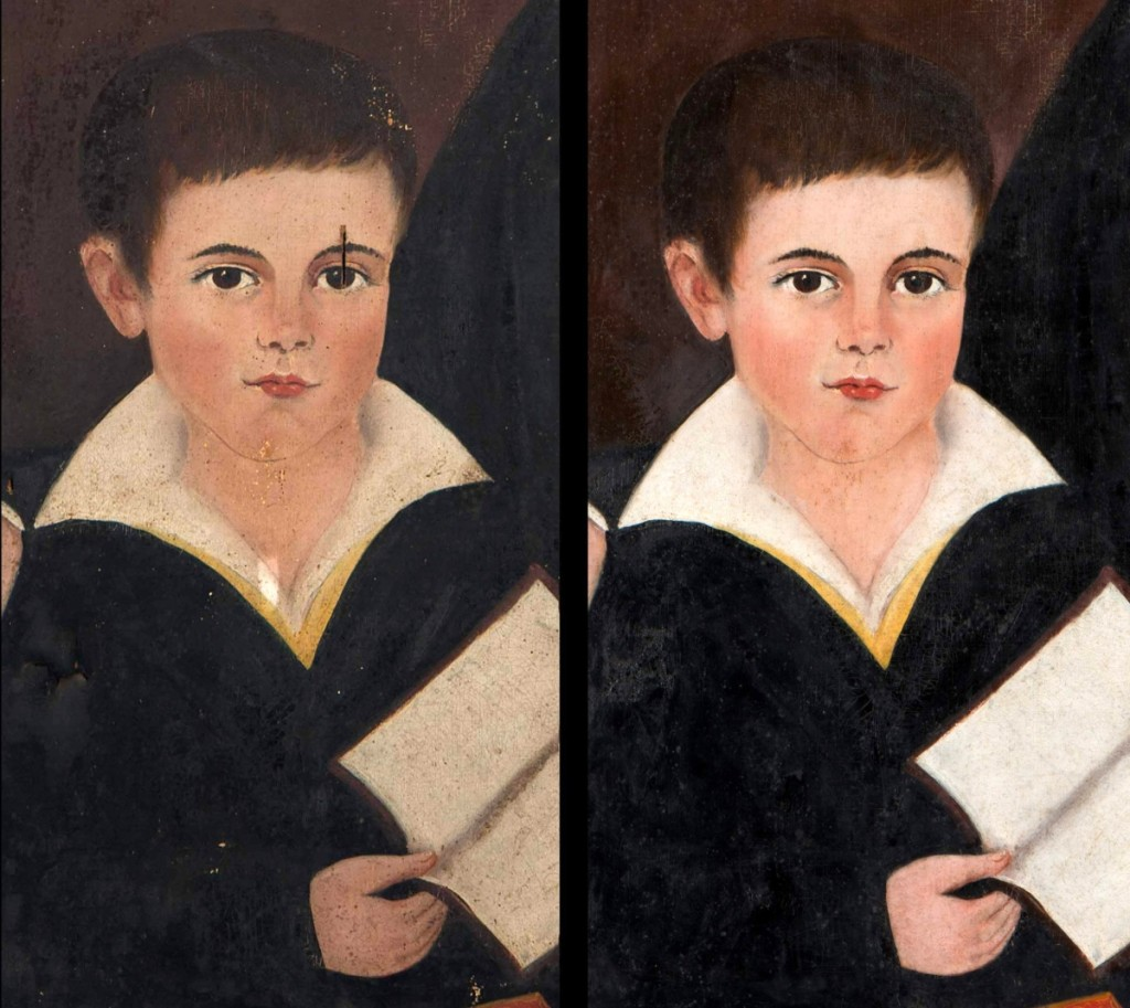 Pre- and post-conservation details from Samuel Taylor's 1837 portrait of Captain Thomas Trent Jr and his son William Henry Trent.