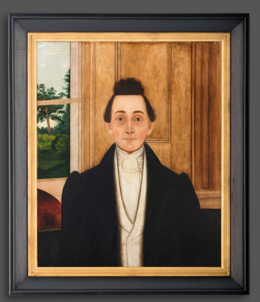 """""""Portrait of Charles Henry Robertson,"""" unidentified artist, Charlotte County, Va., probably 1825–30. Oil on tulip poplar panel. Gift of the Boswell family in memory of the subject's great-great-grandson, John Iverson Boswell, 2012."""