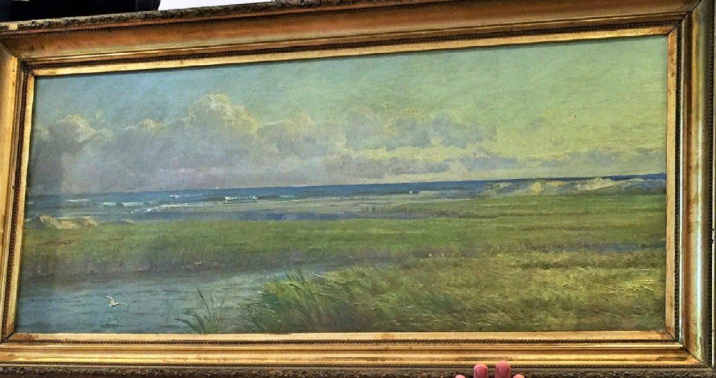 """Salt Marshes, Atlantic City,"" an oil on canvas painted by William Trost Richards, (1833–1905) measures 16 by 36 inches. Mike Corcoran stated that ""there was the most interest"" in this painting, and with several phones competing it brought $24,000."