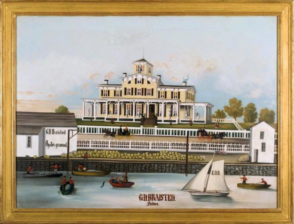 "One of the highest prices of the sale, $49,200, was achieved by a brightly colored mid-Nineteenth Century oil depicting the ""G.D. Braisted Palace and Oyster Ground."" The site was probably on the east bank of the Hudson river in upper Manhattan."
