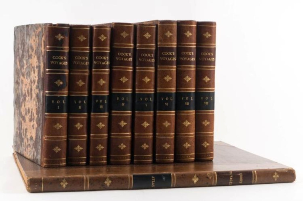 An eight-volume set of reports of Captain Cook's voyages, plus a folio-sized volume of engravings and maps, earned $19,200. The leather-bound volumes were in fine condition and each report was a first edition, published between 1773 and 1784.
