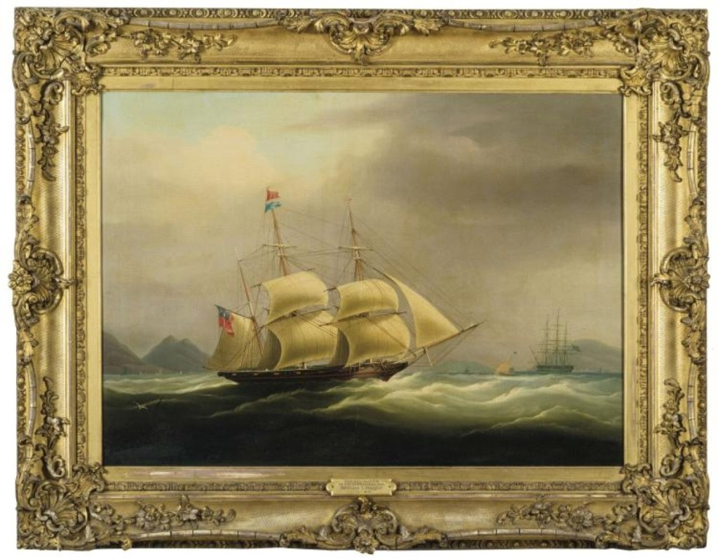 The highest price of the marine paintings was earned by a painting of the famous clipper ship Red Rover in the South China Sea, painted by William J. Huggins. It finished at $44,400.