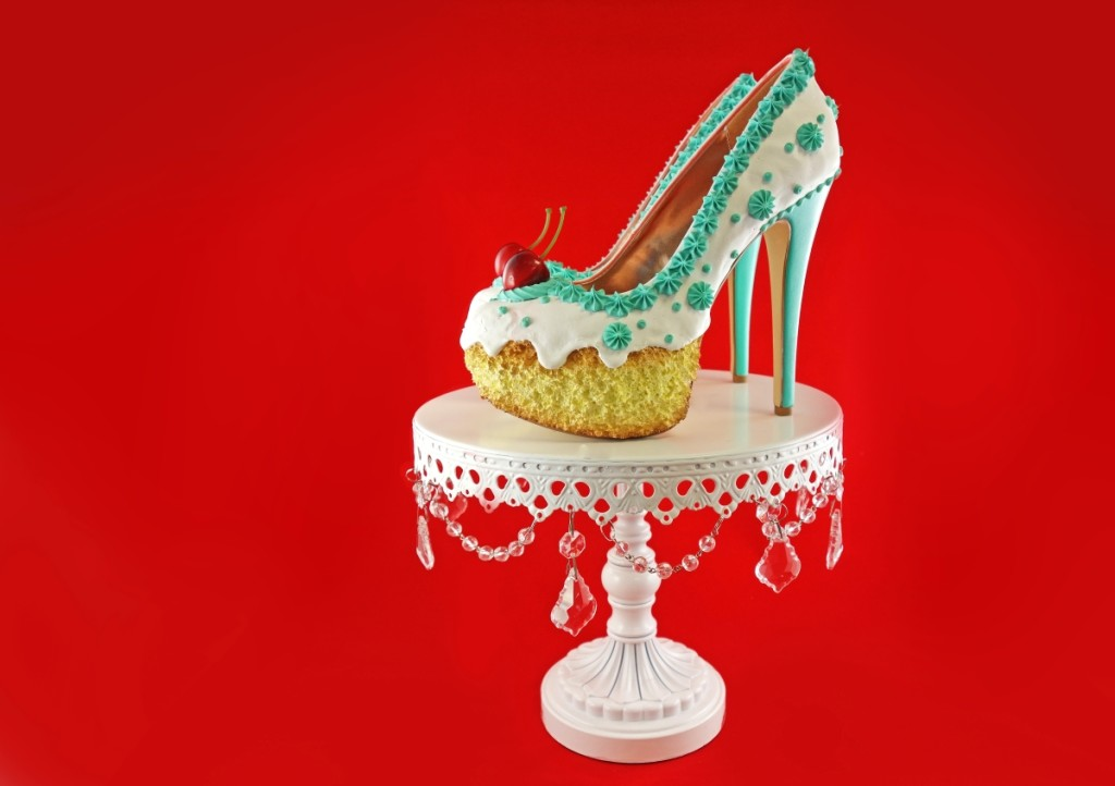 """Teal and White Cake Heels"" by Chris Campbell, 2016. Mixed media. Courtesy Shoe Bakery."