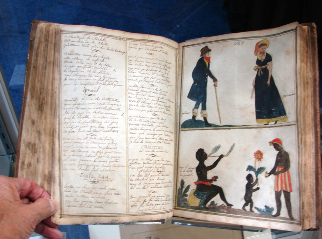 """Justin Croft Antiquarian Books, Ltd, London, had a circa 1820–30 French """"Commonplace"""" book. It included recipes, a calendar, accounts and history of the Revolution, popular songs, verses, etc. With numerous hand drawn, colorful illustrations, it was priced at $16,000. —ABAA Boston Book Fair"""