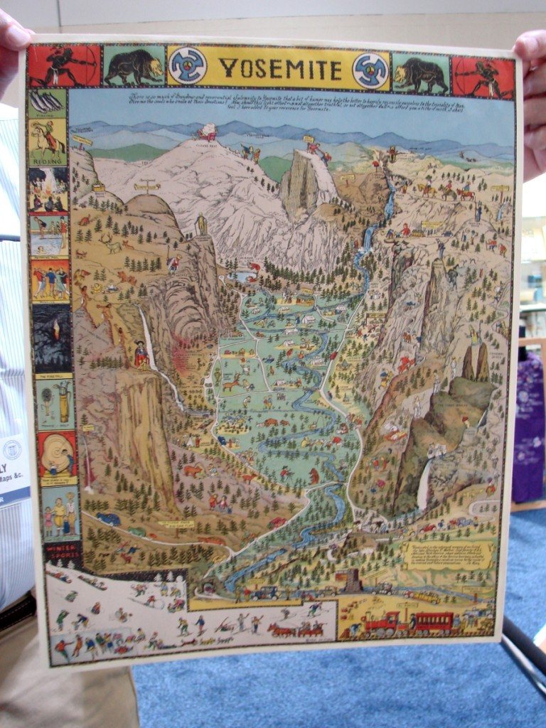 Stephen Hanly, Bickerstaff Books, Maps, & C., Scarborough, Maine, brought a colorful tourist map of Yosemite, showing people on horseback, several bears and Indians, and it depicted many of the sites of interest. —ABAA Boston Book Fair