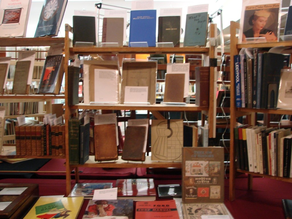 Bob Ritchie, Dogtown Books, Gloucester, Mass., had a copy of the hard-to-find book on American printed textiles, Threads of History, A Compilation of American History Recorded on Cloth 1775 to the Present by Collins and priced it a very reasonable $190.        —Getman's Satellite Book Fair