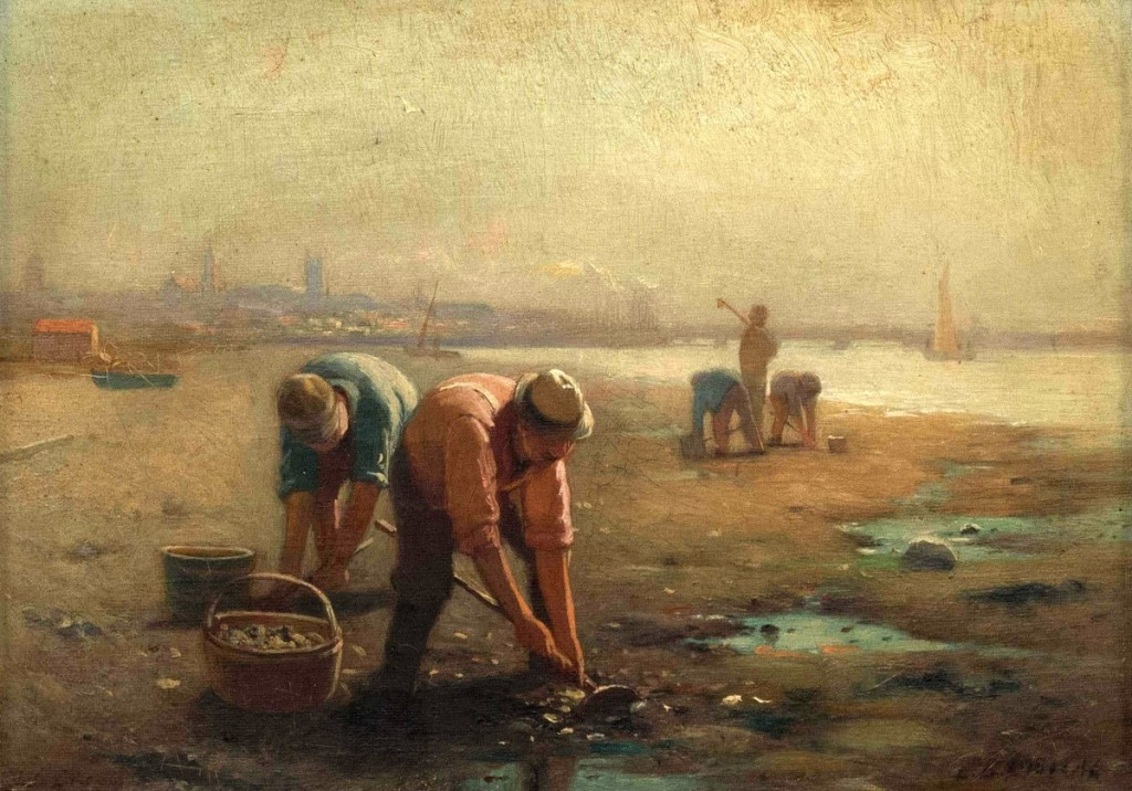 An L.D. Eldred (Massachusetts, 1848-1921) scene of clam gathering in Fairhaven, Mass., realized $26,400.