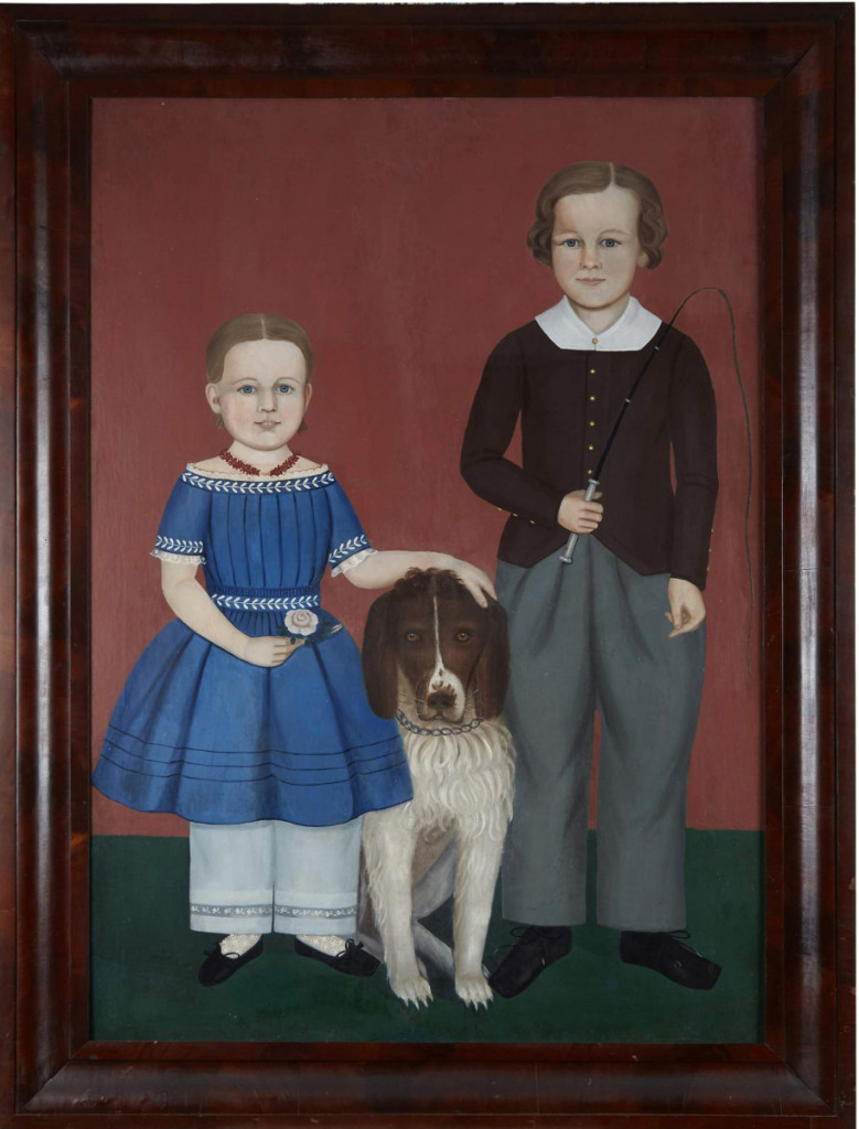 This double portrait, circa 1850, nearly tripled its low estimate to sell for $112,500, becoming the auction's top lot. Depicted are Ella Jane  and Granville Parks of Woburn, Mass., with their dog. The work is attributed to Massachusetts folk artist Samuel Miller (1807–1853).