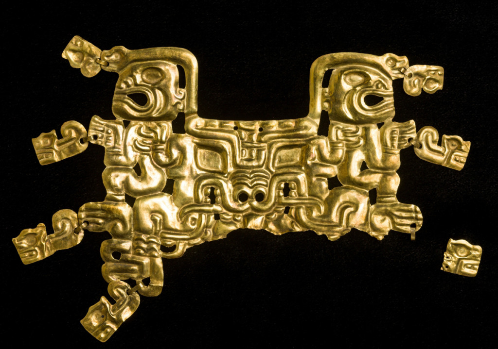 Mouth mask with feline creature and human figures, Cupisnique/Chavín, 800–550 BCE. Gold, 5¾ by 8-  by   inches. Museo Kuntur Wasi, San Pablo, Peru, Ministerio de Cultura del Perú.