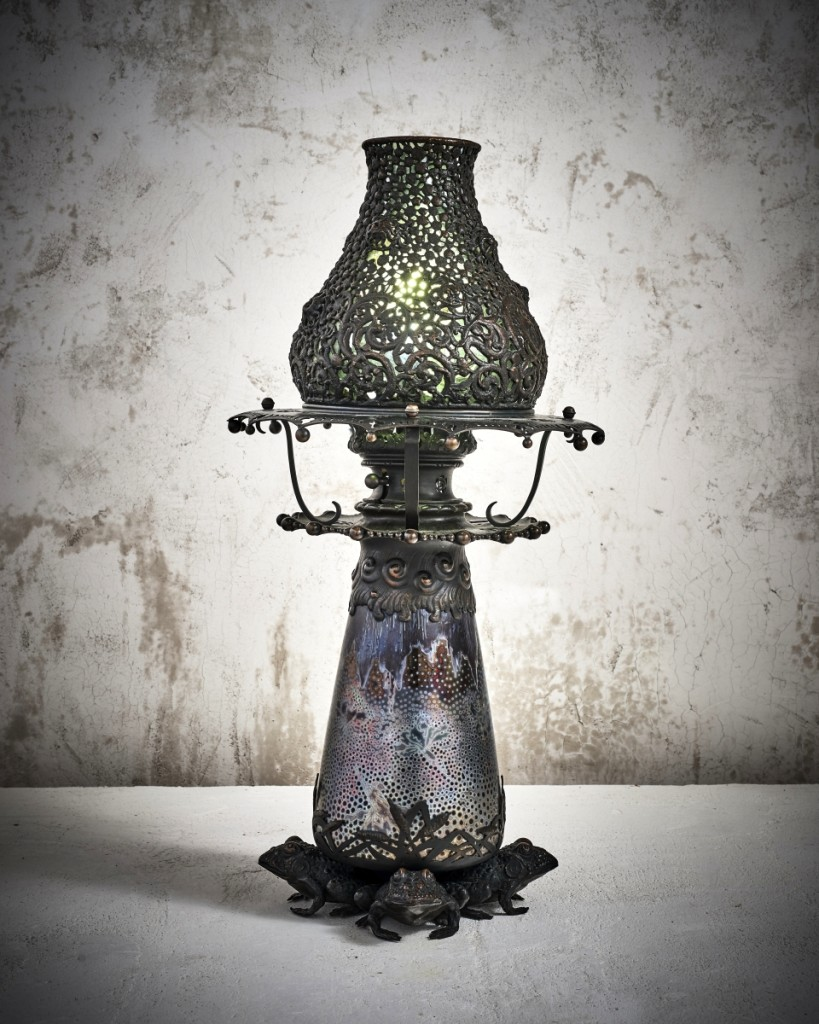 Lamp by Clément Massier, France, circa 1900, glazed stoneware and bronze. Jason Jacques Gallery.