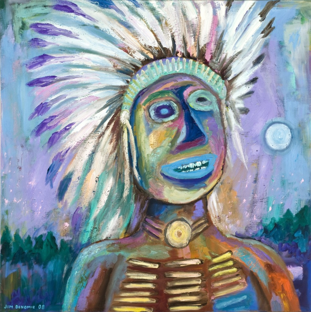 """Blue Eyed Chief"" by Jim Denomie (Ojibwe, b 1955), 2008, oil on canvas. Museum purchase: Eiteljorg Fellowship."