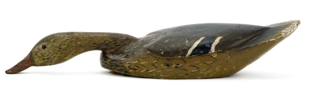 The best performing decoy in the sale was a mallard hen by noted Louisiana carver Mitchel LaFrance, chased by multiple bidders to a final price of $14,400, far over its $3/5,000 estimate.