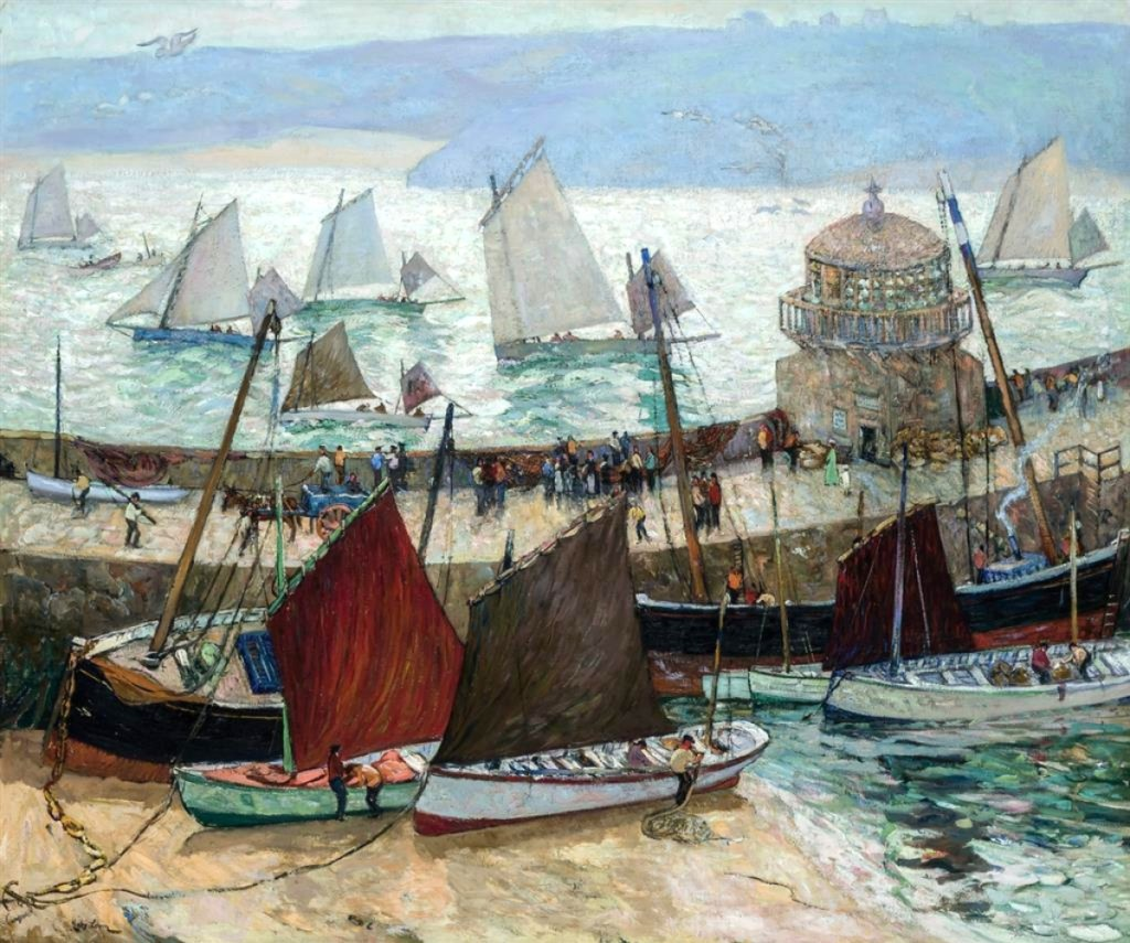 """""""The Old Lighthouse and Fleets of St Ives"""" notched a new auction record for Richard Hayley Lever when it sold for $162,500 ($80/120,000) to a private collector. Born in Australia, Lever settled in the Cornish art colony in 1899 before emigrating to the United States, where he opened a studio in Gloucester, Mass., and taught at the Art Students League from 1919 to 1931."""