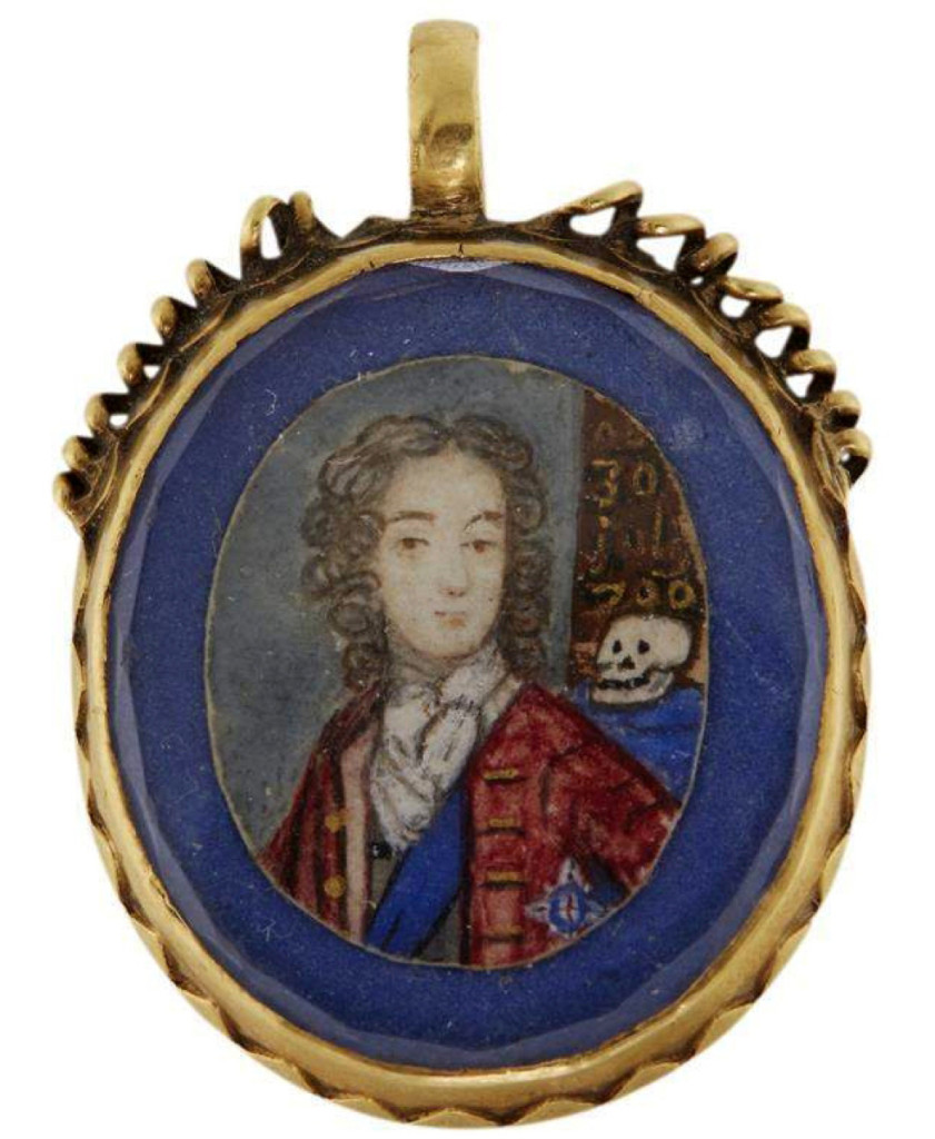 "A rare gold ""Stuart Crystal"" mourning pendant for Prince William, Duke of Gloucester (1689–1700), circa 1700, finished at $35,000 — 14 times its high estimate."