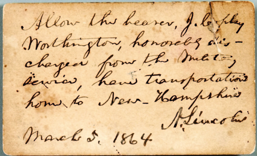 """An 1864 pass, allowing """"the bearer to have transportation home to New Hampshire"""" signed by Abraham Lincoln, was sold with a transcript of letter from the recipient of the pass that was revealing of the politics of the day. The letter says, in part, """"I wish to get home to vote on Tuesday and do my part towards putting down the copperheads. Unfortunately, I have not the money to pay for a ticket, and having been told that clerks in the different departments have been sent home free of their expense in order to exercise their prerogatives as citizens of the Granite state, I ask for myself the same opportunity......."""" Yours with the utmost respect J. Copley Worthington."""" The lot, which included a tintype of Lincoln, brought $6,765.      —Skinner's Book Sale"""