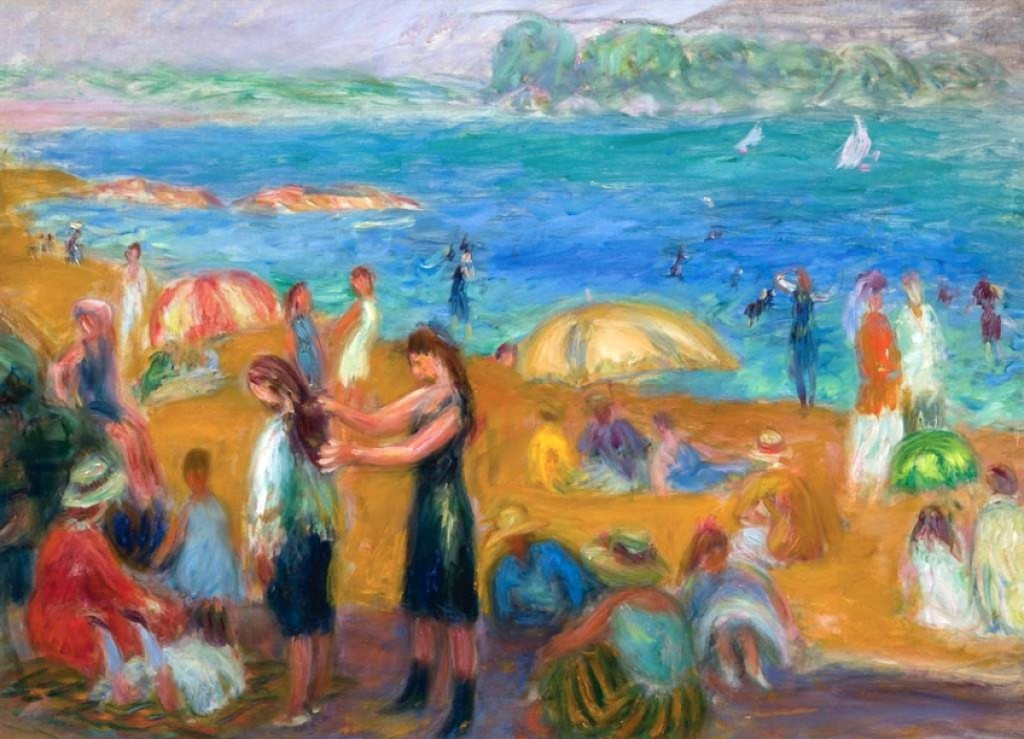 """Bathers"" by William Glackens (1870–1938), unsigned oil on board, 16½ by 22-5/8  inches. A handful of prominent galleries handled this work, sold by Alexander Galleries to Richard Manoogian. Shannon's top lot, it crossed the block at $187,500 ($250/350,000)."