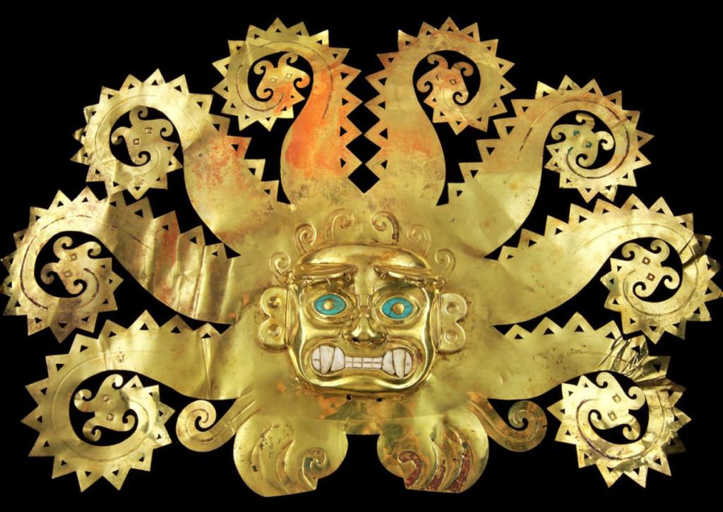Octopus frontlet, Moche, 300–600. Gold, chrysocolla, shells; 11 by 17 by 1¾ inches. Museo de la Nación, Lima, Peru, Ministerio de Cultura del Perú.
