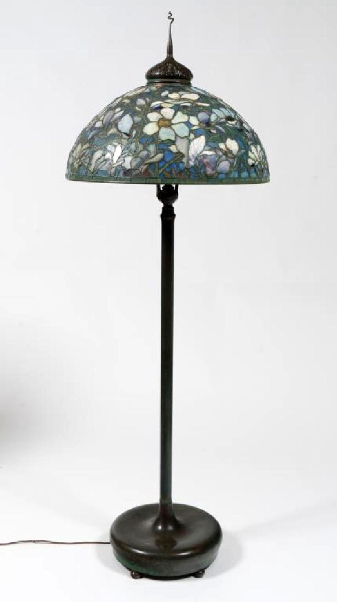 As expected, a Tiffany floor lamp, signed on the base and the Magnolia pattern shade, was the star of the sale. Four phone bidders competed until one paid $750,000 for it.