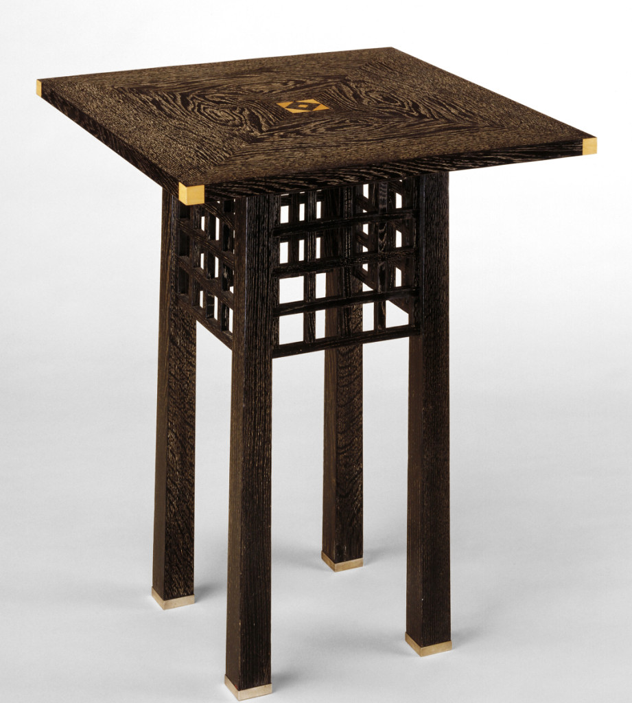 Table designed by Josef Hoffmann (1870–1956) and executed by Wiener Werkstätte, 1904. Ebonized oak with pores chalked white, boxwood inlay and silver-plated mounts. Minneapolis Institute of Art.