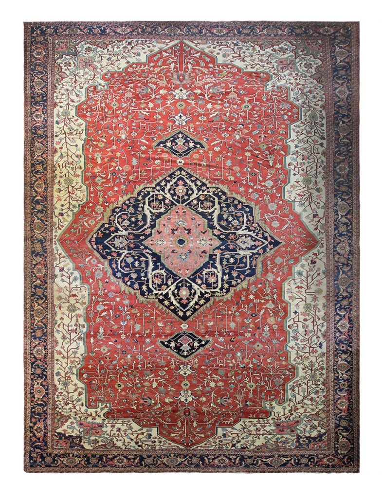 An antique Persian Serapi palace-size carpet, 14 feet 10 inches by 26 feet 3 inches, made $26,600.