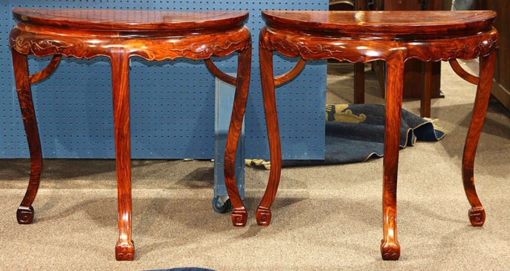 A pair of demilune tables that came to the sale with an estimate of $10/15,000, but demand drove the final sale price to $72,600.