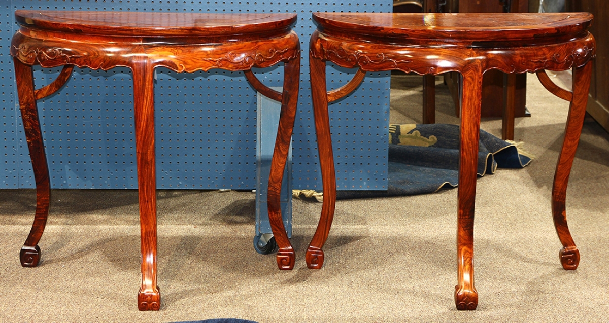 A Pair Of Demilune Tables That Came To The Sale With An Estimate Of $10/