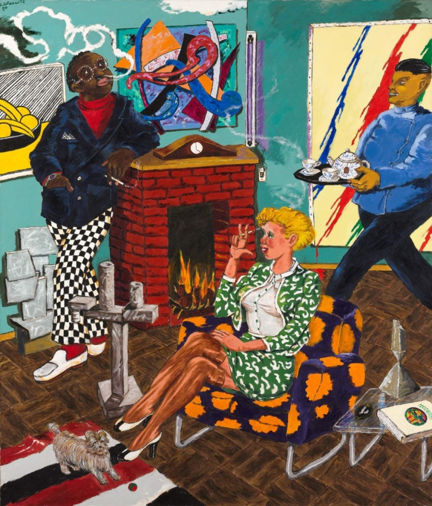 """""""Tea for Two (The Collector)"""" by Robert Colescott (1925–2009), 1980. Acrylic on canvas. Cleveland Museum of Art"""