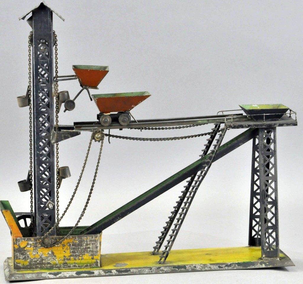 Coal Conveyor steam toy, 16 inches long by 15½ inches high, good condition, sold for $3,000, well over the $450 high estimate.