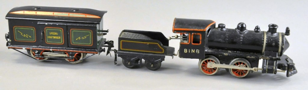 The Bing Windcutter Loco and Marklin Electric Car, 8 inches long, the wrong tender, sold for $2,280, well over the $800 high estimate.
