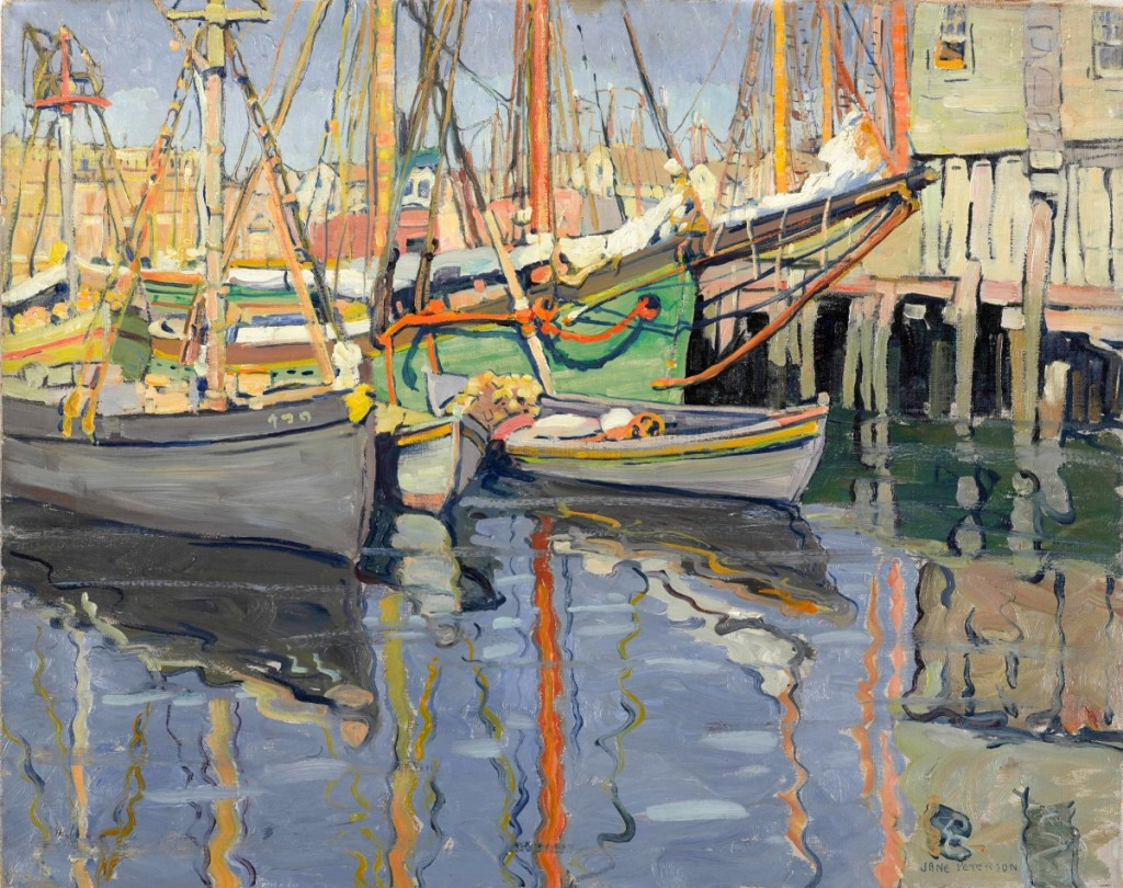 """Fishing Boats, Gloucester,"" circa 1915–20. Oil on canvas, 24 by 30 inches. Brooklyn Museum. —Jonathan Dorado photo"