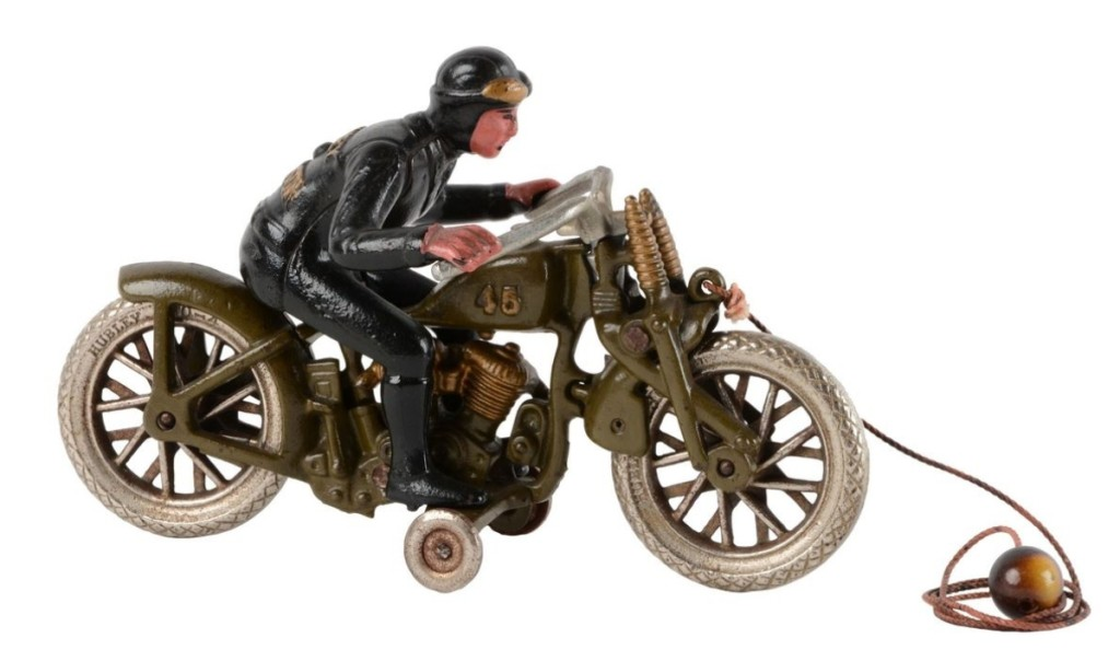 A Hubley cast iron hill climber motorcycle finished as the third highest lot in the sale at $33,210. It was in near-mint to mint condition and was sold by Morphy in 2008 as part of the Andy Huffer toy motorcycle collection. It was all original and Morphy believed it to be one of the finest examples known.
